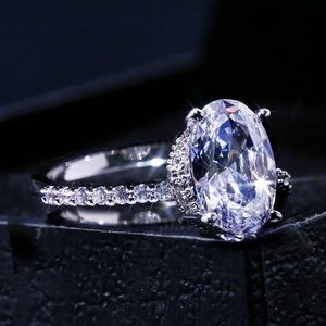 Dazzling Brilliant CZ Stone Four Prong Ring 925SS